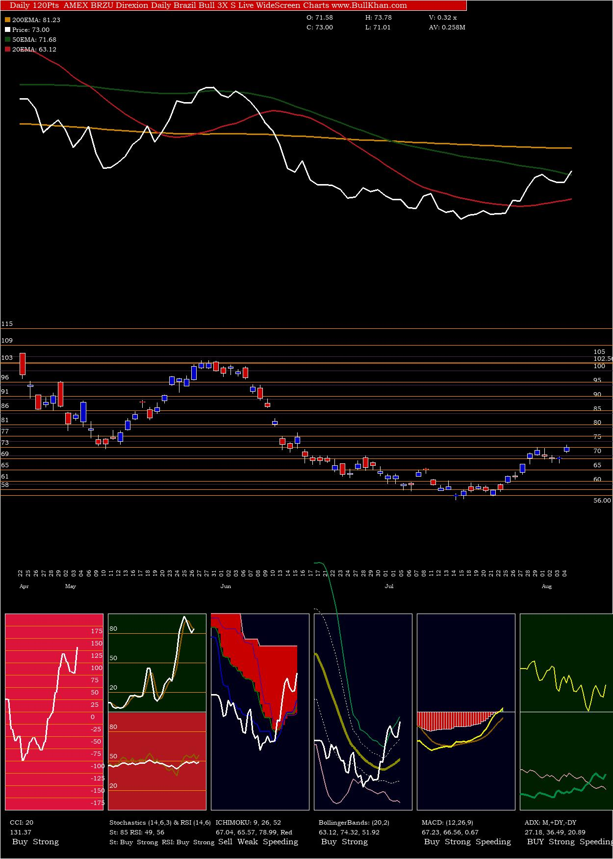 Direxion Daily Brazil Bull 3X S charts and indicators